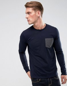 Read more about French connection long sleeve pocket top - navy