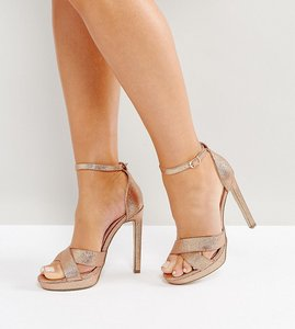 Read more about Lost ink wide fit bee rose gold glitter platform heeled sandals - rose gold