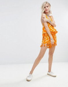 Read more about Glamorous shorts in tie dye with tassel trim co-ord - orange