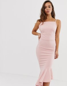 Read more about Missguided asymmetric hem scuba midi dress - pink