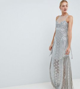 Read more about A star is born tall embellished maxi dress with iridescent sequins - silver