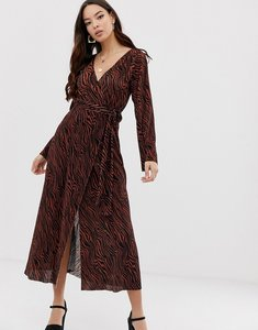 Read more about Asos design plisse wrap maxi dress in tiger print