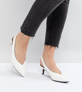 Read more about Monki kitten heel sling back shoe - white