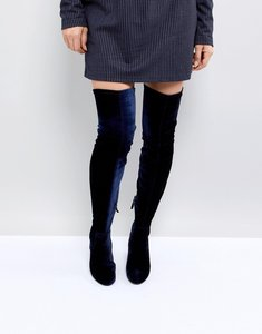 Read more about Stradivarius over the knee velvet boot - navy
