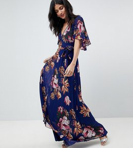 Read more about Asos tall pleated maxi dress with flutter sleeve in floral print - floral