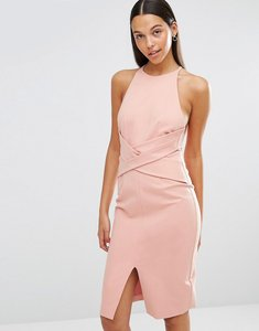 Read more about Lavish alice wrap front plunge back detail midi dress - rose pink