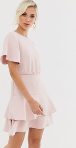 Read more about Forever new tiered flippy hem mini dress in blush