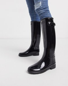 Read more about Hunter original refined black gloss tall wellington boots - black