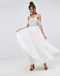 Read more about Asos cold shoulder floral embellished tulle maxi dress - white