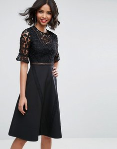 Read more about Asos premium lace insert midi dress - black