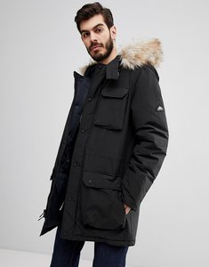 Read more about Penfield lexington insulated parka jacket faux fur trim hooded in black - black