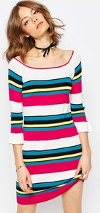 Read more about Asos dress in structured knit with stripe - multi