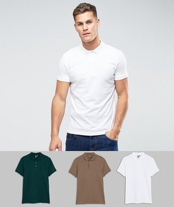 Read more about Asos jersey polo 3 pack save - multi