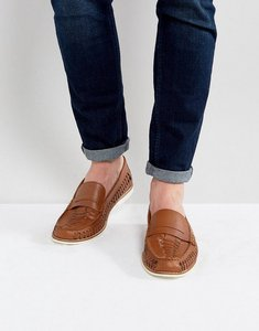 Read more about Kg by kurt geiger woven loafers in tan leather - tan