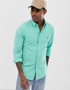 Read more about Polo ralph lauren player logo garment dye oxford button down shirt slim fit in bright green