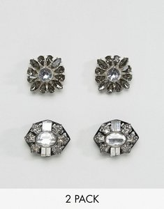 Read more about Aldo 2 pack floral embellished shoe clips - silver