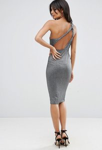 Read more about Asos glitter one shoulder twist back midi dress - silver