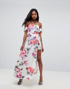Read more about Parisian off shoulder floral maxi dress with shorts - white
