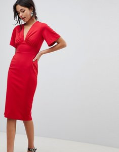 Read more about Asos design crepe tea dress with flutter sleeve