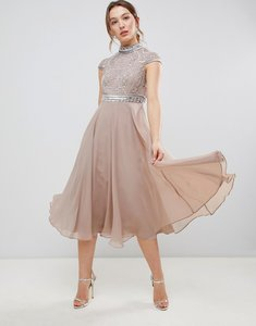 Read more about Asos design premium short sleeve midi dress with heavily embellished bodice - mink