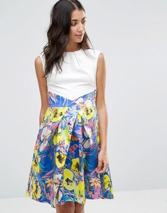 Read more about Closet floral water print skirt contrast pleat dress - white and blue multi