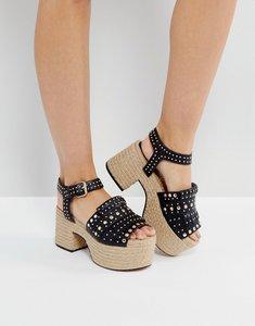 Read more about Asos titan studded espadrille sandals - black