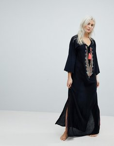 Read more about Liquourish embellished maxi beach dress with tassel detail - black