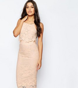 Read more about Asos tall lace floral scallop midi dress - nude