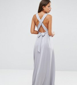 Read more about Asos tall slinky ruched tie back maxi dress - grey