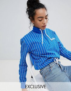Read more about Ellesse italia oversized sweatshirt in stripe with ring pull zip - blue