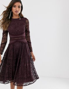 Read more about Asos design long sleeve prom dress in lace with circle trim details