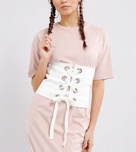 Read more about Seint corset belt in cotton with eyelet lace up - white