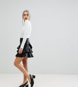 Read more about Vero moda petite leather look ruffle mini skirt - black