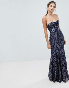 Read more about Club l embellished sequin strapless fishtail maxi dress - navy