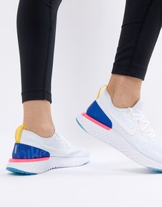 Read more about Nike running epic react trainers flyknit in white and blue - white