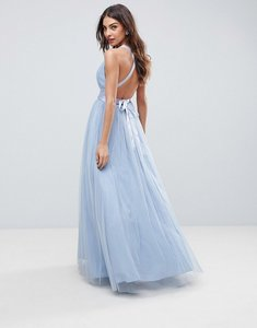 Read more about Asos premium tulle maxi prom dress with ribbon ties - dusky blue