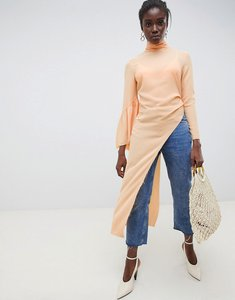 Read more about Asos white frill asymmetric top with flute sleeves - peach