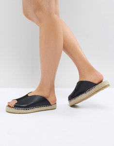 Read more about Pieces leather look mule espadrille - black
