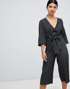 Read more about Miss selfridge tie front stripe culotte jumpsuit - black