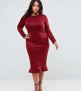 262f766df3d0c Read more about Club l plus office long sleeve detailed dress w peplum  frill hem bodycon