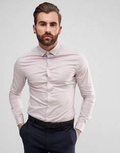 Read more about Asos skinny shirt in dusty pink with grandad collar - dusty pink