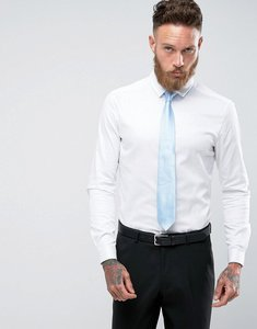 Read more about Asos design wedding skinny sateen shirt in white - white