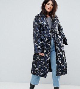 Read more about Dolly delicious plus premium embroidered jacquard maxi kimono jacket - blue multi
