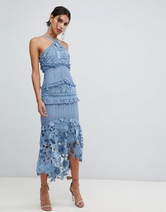 Read more about True decadence sleeveless premium lace midi dress with high low hem in slate blue - slate blue