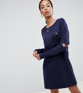 Read more about Noisy may tall long sweater with buckle sleeves - navy