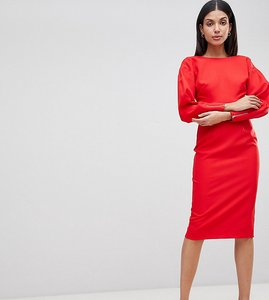Read more about Asos tall long sleeve midi pencil dress - red