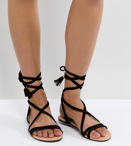 4853f4277158 From Asos design. NEW IN. Read more about Asos fayla tie leg plaited flat  sandals - black