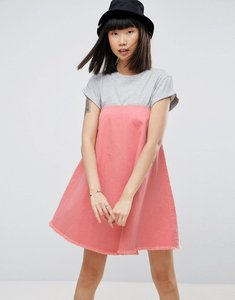 Read more about Asos denim strapless dress in pink - pink