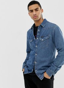 Read more about Wrangler western denim shirt slim fit in blue indigo mid wash