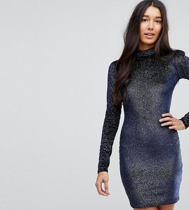 Read more about Glamorous tall high neck bodycon dress in glitter velvet - navy